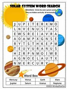 Solar System Word Searches - 2 levels of difficulty by ...