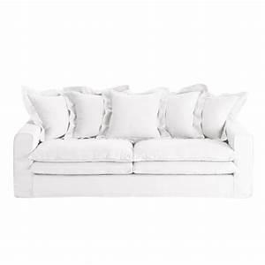 Canape Lin Blanc. canap 3 4 places en lin blanc lisbonne maisons ...