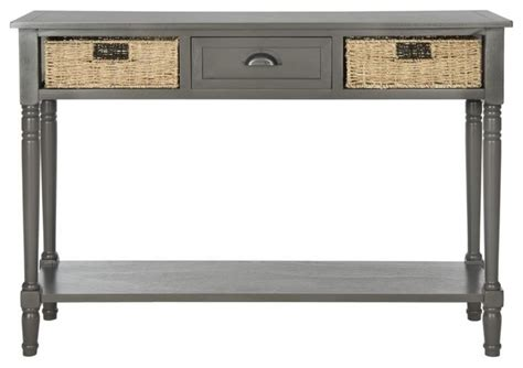 Safavieh Winifred Console Table With Wicker Storage, Gray