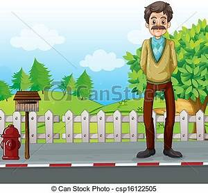 Vector Clipart of An old man at the roadside standing near ...