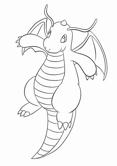Pokemon Dragonite Coloring Pages Dragon Type Generation