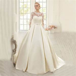 Elegant long sleeve ball gown wedding dress 2016 satin for Satin sleeve wedding dress