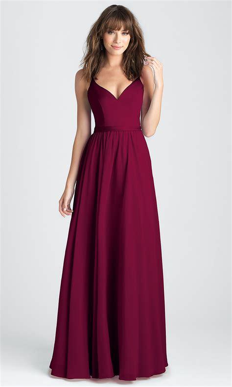 Satin and Chiffon Burgundy Long Prom Dress -PromGirl