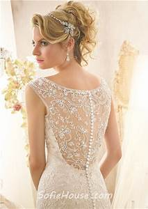 mermaid scoop neckline sheer see through back lace beaded With see through lace back wedding dress