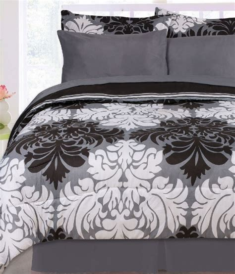2 3pc black white gray damask striped reversible comforter set twin full ebay