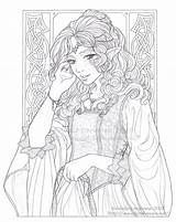Coloring Adults Adulte Coloriage Lineart Princess Fairy Royalty Adult Volwassenen Elfes Meadowhaven Diana Voor Elven Manga Colouring Anges Kleuren Dessin sketch template