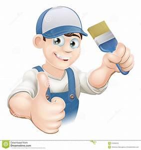 Cartoon painter decorator stock vector Image of blue