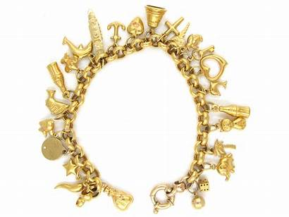 Gold Charm Bracelet 9ct Multi Antique 18ct