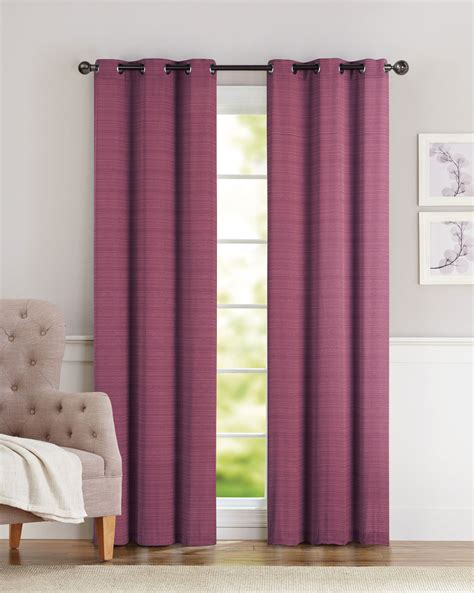 pair of clyde burgundy window curtain panels w grommets
