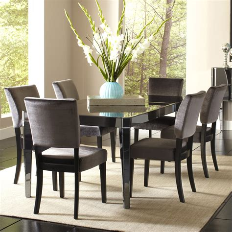 mirrored dining table set standard furniture parisian 7 piece rectangular mirrored