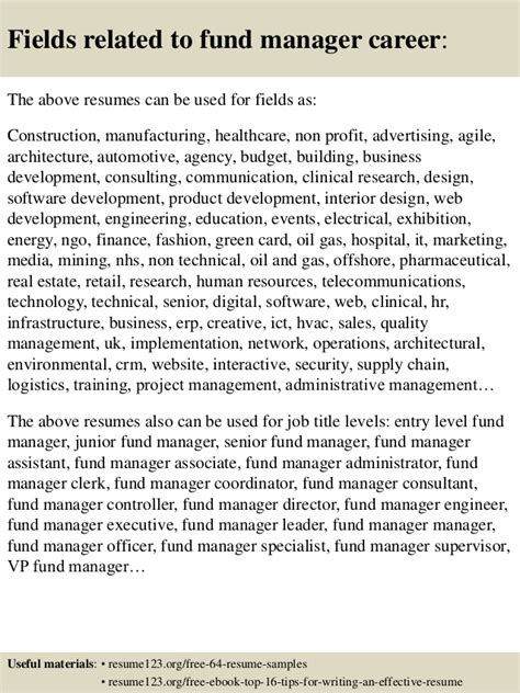 top 8 fund manager resume sles