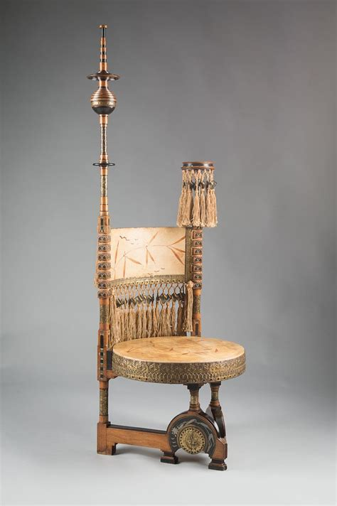 View auction details, art exhibitions and online catalogues; Circular Throne Chair designed by Carlo Bugatti (1856 - 1940), made of walnut. It features a ...