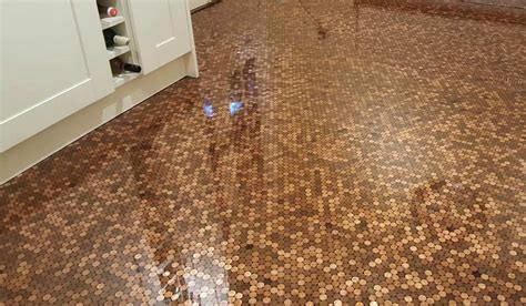 Kitchen Floor Of Pennies by Diy Lover Completely Reved His Kitchen Floor With Pennies
