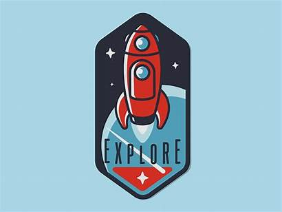 Badge Explorer Rocket Emblem Awe Inspiring Designs