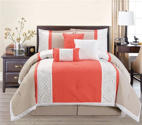 7 luxury coral orange beige white embroidered