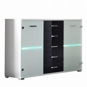 Sideboard Weiß Schwarz : sideboard cobra kommode glas wei schwarz inkl led beleuchtung neu ebay ~ Orissabook.com Haus und Dekorationen