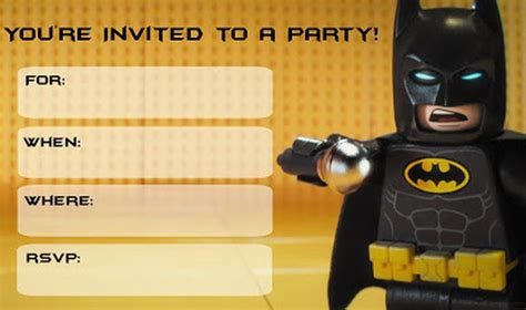 batman  printable invitation templates