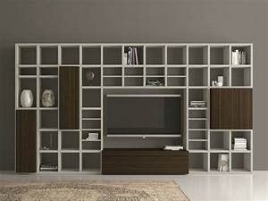 Libreria A Giorno Laccata Con Porta Tv Speed 25 By Dall
