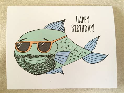 Happy Birthday Card fisherman birthday bearded man card ...