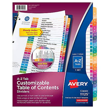 avery ready index table  contents dividers   tab