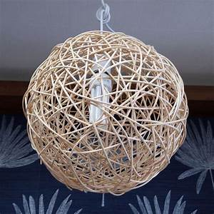 Wood weaving round ball ceiling lamp light antique alive
