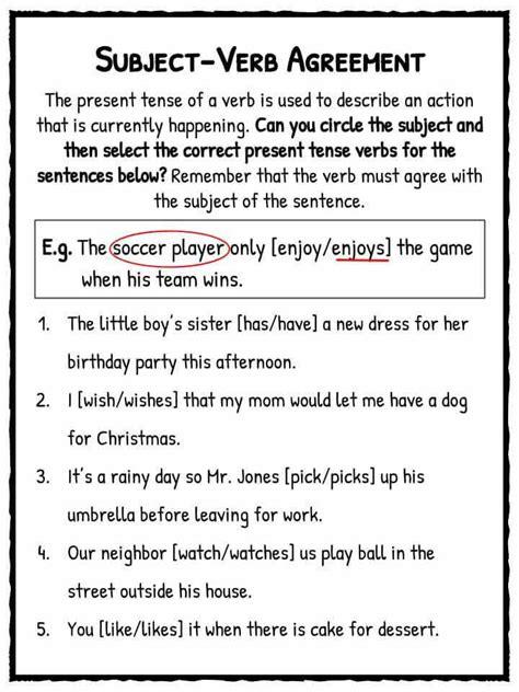 subject verb agreement worksheet homeschooldressage