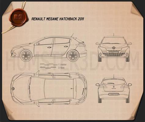 renault megane hatchback 2011 blueprint hum3d