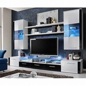 Meuble Tv 250 Cm : meuble tv mural design fresh 250cm blanc noir ~ Teatrodelosmanantiales.com Idées de Décoration