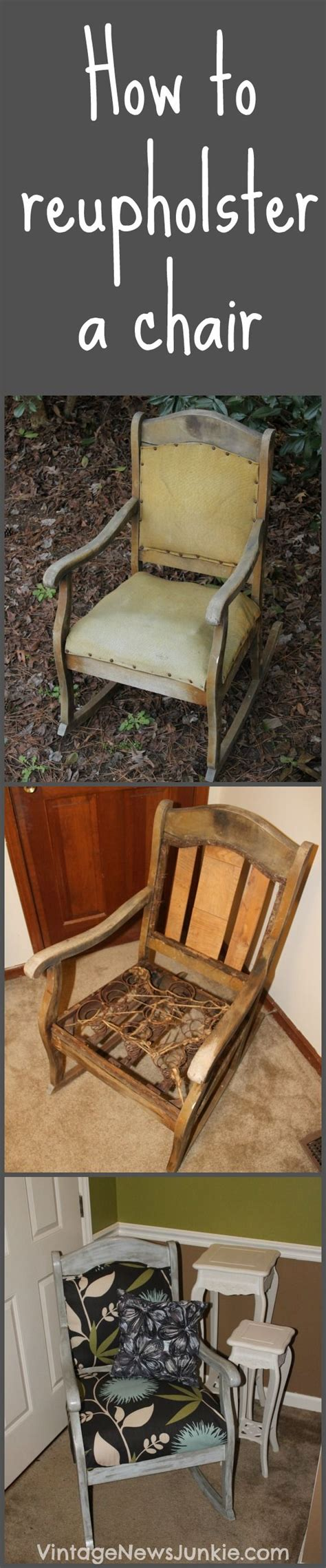 How To Reupholster A Chair by How To Reupholster A Chair Tutorial Vintage News Junkie