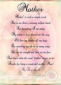 Digital Mother's Day Card with Poem, Birthday, Print, Rose ...