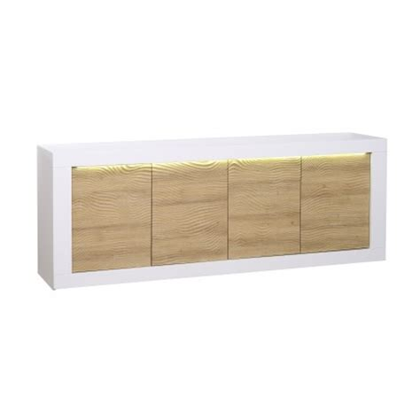White Gloss And Oak Sideboard karma ii large white gloss and oak sideboard with led