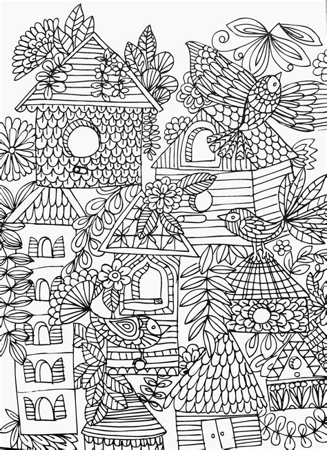 Fun & funky birds & birdhouses adult coloring page