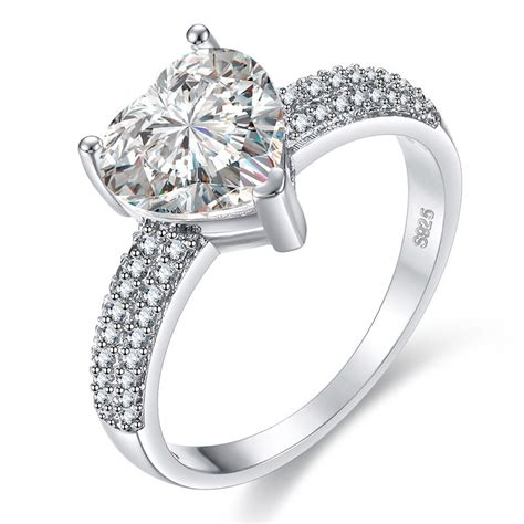 classic love heart white gold filled ring wedding ring jewelry cubic zircon rings for women