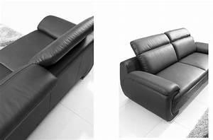 Vente Privée Canapé : canap 3 places en cuir italien rimini noir mobilier priv ~ Teatrodelosmanantiales.com Idées de Décoration