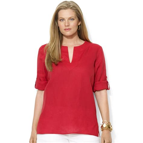 Tab Sleeved Linen Top lyst by ralph plus size tabsleeve linen