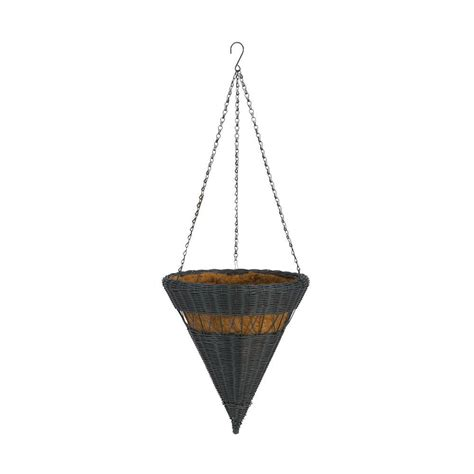 dmc 14 in hunter green cone resin wicker hanging basket 78302 the home depot