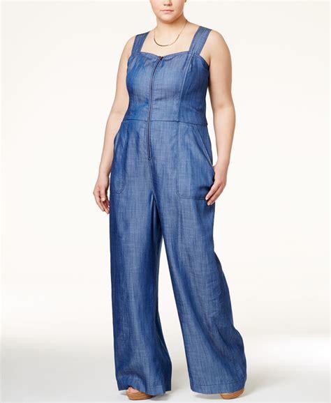 plus size denim jumpsuits roy curvy plus size denim wide leg jumpsuit