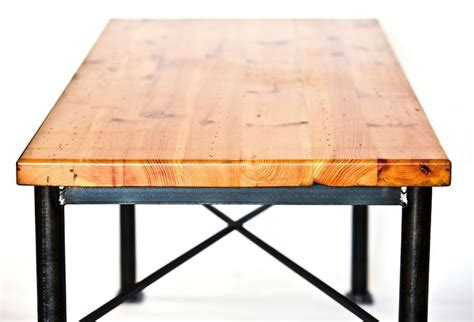 wood steel dining table custom made metal and reclaimed wood dining table by