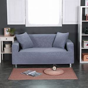 Grey embossing solid color universal stretch furniture for Universal sectional sofa slipcovers