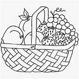 Basket Fruit Coloring Pages Printable Getdrawings sketch template