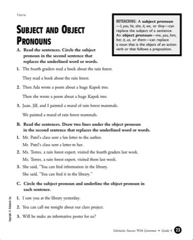 18 best images of personal pronoun worksheet 5th grade