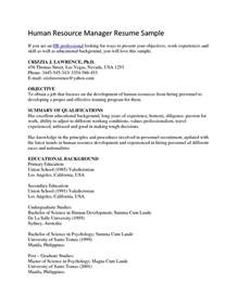 sle of objective in resume for hrm hr resume objective student resume template