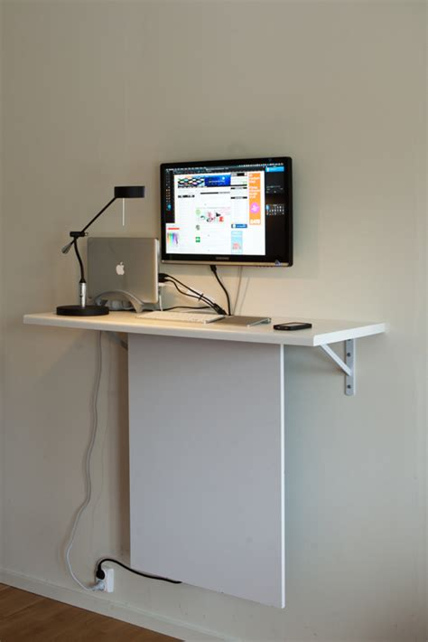 Wall Mounted Desk Ikea Hack by Standing Desk With Quot Invisible Quot Data Storage Ikea Hackers