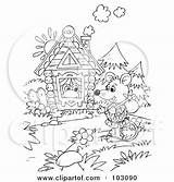 Clipart Mouse Wandering Outline Royalty Coloring Rf Illustration Bannykh Alex Wanderer Frog Frogs Carrying Stick Illustrations sketch template