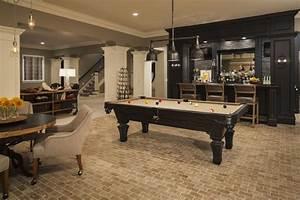 Family Room in Basement - Transitional - basement