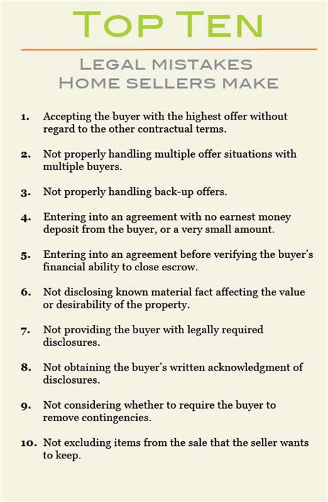 top 10 mistakes real estate sellers make