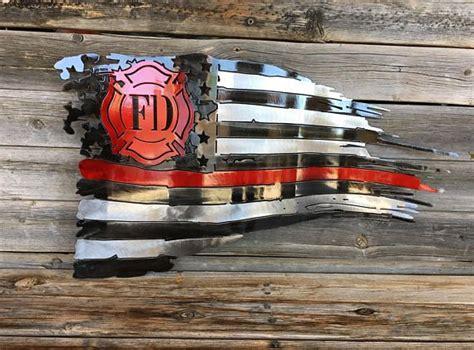 Steel firefighter tattered flag   Firefighter decor ...