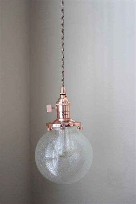pendant lighting copper 6 quot seeded glass globe cloth