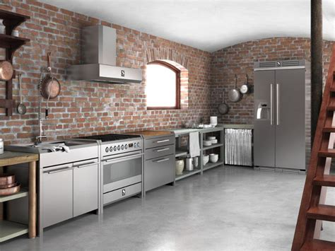 brick wall stainless steel kitchen cabinets stainless