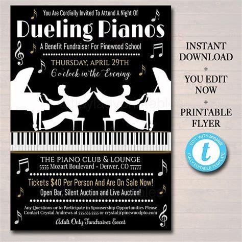 editable dueling pianos benefit fundraiser invitation